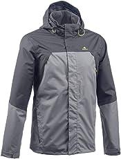 Quechua MH100 Men's Waterproof Mountain Hiking Rain Jacket - Grey Black