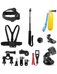 BEEWAY® BS12 - Kit 6 en 1 de accesorios deportivos para camarás de accion (GoPro, SONY, ThiEYE, SJACM, Qumox, Rollei, Xiaomi Yi y DBPOWER)