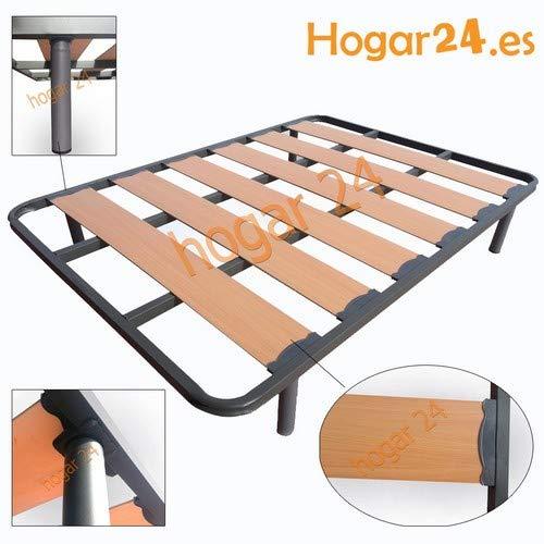 Breiter, verstärkter Lamellenbettboden mit Geräuschschutzblöcken und 32 cm großen zylindrischen Beinen, Rohr 40 x 30, 90 x 200 cm