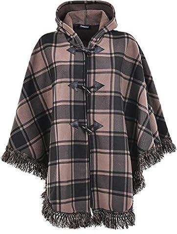 Ladies Women Warm fleece Fleecy Hooded Ponchos/Capes Hoodie Plus Size 12-32 (L/XL (22/24/26),