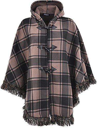 Ladies Women Warm Fleece Fleecy Hooded Ponchos/Capes Hoodie Plus Size 12-32 (S/M (12/14/16), Charcoal)