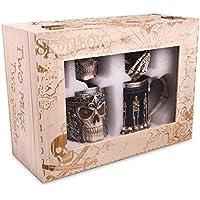 Jarra de Calavera y Juego de Copas con revestimiento de acero inoxidable - Cerveza decorativa y funcional o taza de café y cáliz de vino - Set de 4 - Idea ...