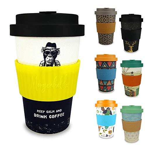 Morgenheld Dein trendiger Bambusbecher | Coffee-to-Go-Becher | Kaffeebecher mit Schraubdeckel und Banderole in coolem Design 400 ml Füllmenge (Monkey_gelb)