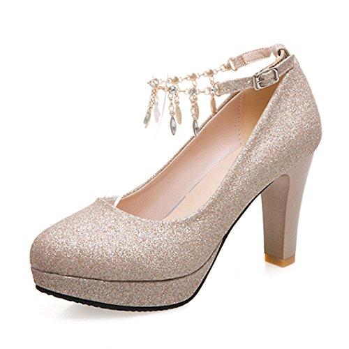 Zapatos de Tacón Alto Cabeza Redonda y con Bandas de Diamantes de Imitación  Mujer  Ideales 175923c10d8e