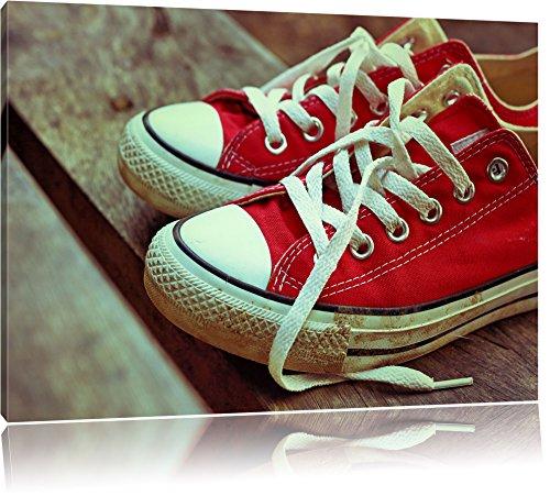 rote Converse Chucks Bild auf Leinwand, XXL riesige Bilder fertig gerahmt mit Keilrahmen, Kunstdruck auf Wandbild mit Rahmen, guenstiger als Gemaelde oder Bild, kein Poster oder Plakat, Format:60x40 cm (Rote Chucks)