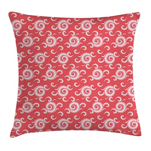 XIAOYI Coral Decor Throw Pillow Cushion Cover, Spiral Vortex Hallucinatory Chambered Curls Hazy Vintage Swirls Loops Print, Decorative Square Accent Pillow Case, 18 X 18 inches, Red White -