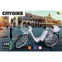 Bicicletta elettrica e-Bike, motore elettrico da 36 V/250 W, bianco