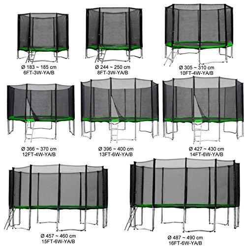 Gartentrampolin Kindertrampolin Trampolin 366 bis 370 cm hellgrün komplettes Set mit Sicherheitsnetz und Einstiegsleiter ...