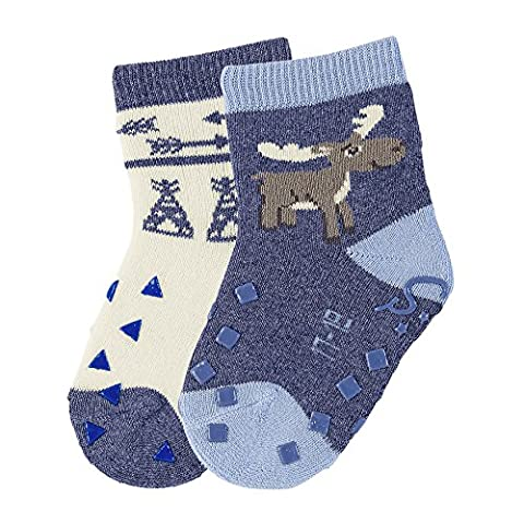 Sterntaler Baby-Jungen Socken Abs-Krabbelsöckchen DP Elch, Blau (Himmel 325), 22