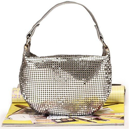 ERGEOB® Donna Clutch sacchetto di sera borsetta Clutch piccola Donna Clutchborsetta argento