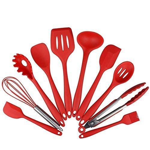 Set de utensilios de cocina de silicona de 10 piezas - espátulas, cucharas y tornillo, kit de herramientas...