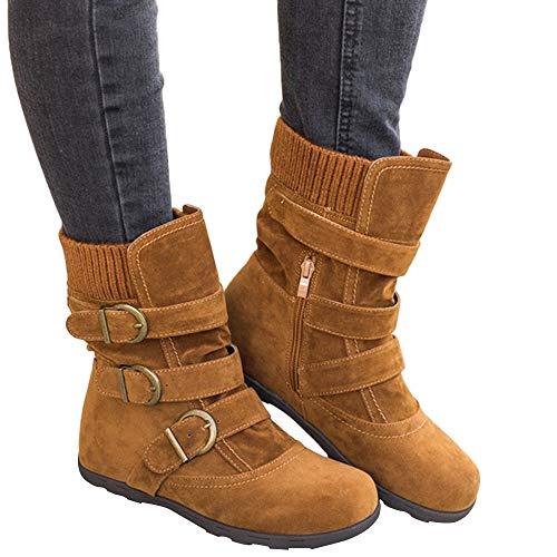 Damen Flach Schuhe SHOBDW Frauen Wildleder Runde Kappe Reißverschluss Flache Reine Farbe Schnalle halten warme Schneeschuhe Klassisch Simplicity Solid Schnalle Dekoration Stiefeletten