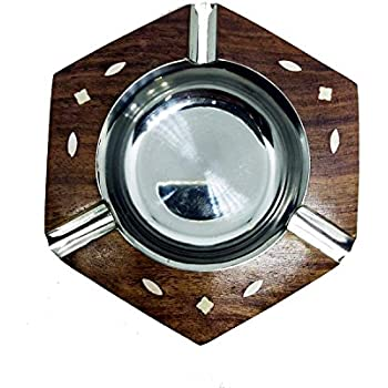F Fityle Collectable Vintage Wooden Ashtray Handmade Tobaccos Case Smoking Ash Trays