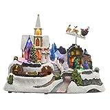 Dibujos animados Multi Color LED Iglesia escena decoración de Navidad con tren en movimiento
