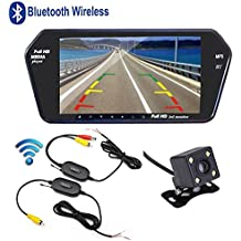 podofo Sistema inalámbrico Bluetooth del espejo retrovisor del vehículo con 7 pulgadas monitor MP5 reproductor de HD Ultra-picada y respaldo trasero cámara de visión nocturna