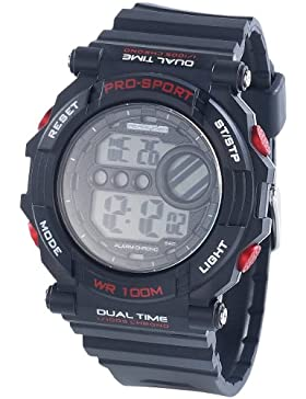 PEARL sports Digitale Armbanduhr mit Stoppuhr, schwarz