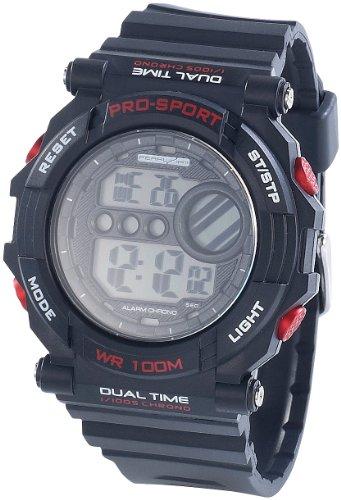 PEARL Sports NC7393-944 – Uhr, Gummiarmband, schwarz
