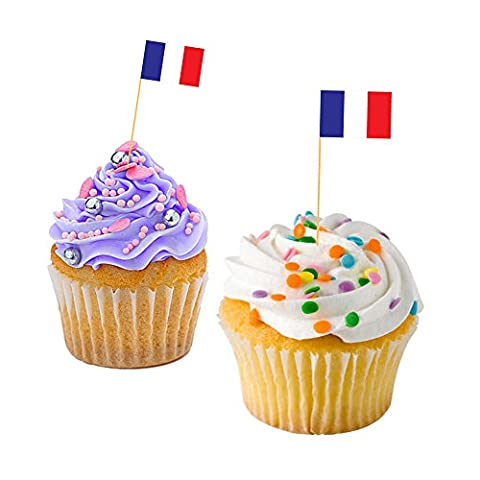 FRENCH CUPCAKE FLAGS - France / Baking / Decoration / Decorative Cake Toppers (100)