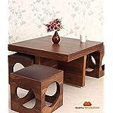 Mamta Decoration Wooden Coffee Table with 4 Stools for Living Room - Matt Polish Finish, Chocolate Cushion