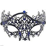 TX ZHAORUI Halloween-Maske Gypsophila Metall Maske Masquerade Eiserne Maske Party Dress Up Metallic Diamond Halb Gesichts Eiserne Maske,Blue