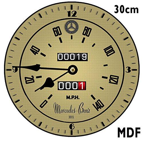 Mercedes SL300?Compteur de vitesse Rouge vintage r?tro Horloge M?tal/Verre 24?cm