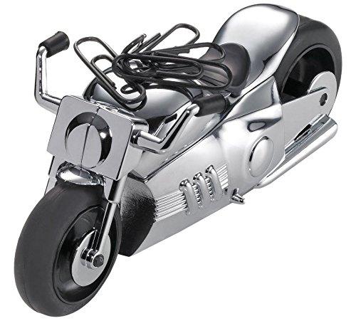 Troika Schreibtischobjekt/Briefbeschwerer 'Easy Rider', Motorrad im Chopper-Stil, mit Magnet für Büroklammern, Stifteköcher und Rückziehmotor