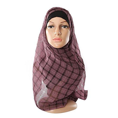 WINWINTOM Schal Super Weichen Islam Muslim Einfarbig Damenschal Frauen Mädchen Scarves Klassische feste Gittermuster Crinkle Cloud Hijab Schal Schal muslimische Schals