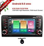 Freeauto para Audi, A3, S3, 7 pulgadas, Android 8.0, pantalla multitáctil para coche, radio estéreo, DVD, reproductor GPS CANbus, función de espejo, OBD2, 4 GB, RAM 32 GB, ROM