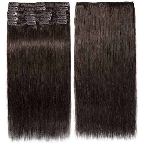 Clip In Extensions Echthaar 100% Remy DOUBLE DRAWN Haarverlängerung 8 Tressen Dick zum Ende Glatt 35cm - 80g - Dunkelbraun #02