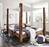 SAM Himmelbett Massivholz 180x200 cm Betthimmel weiß Stoff, Ella, Akazie, Unikat, Doppelbett