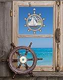 Plauener Spitze Fensterbild maritim STEUERRAD (BxH) 21 x 23 cm inkl. Saughaken Fensterdeko