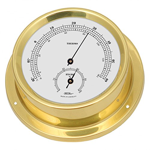Fischer Thermo-Hygrometer, Messing, 125x 100mm (Gold-finish Poliertem)