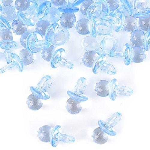 Foto de DEOMOR 100pcs 2cm Mini Chupetes Chupones Confeti de Mesa Bautizo Bienvenida Cumpleaños Fiesta Plástico Azul