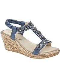 e1769bd7a Cipriata Ladies Womens Elasticated Flower Trim Halter Back Wedge Sandals  Shoes Size 3-8
