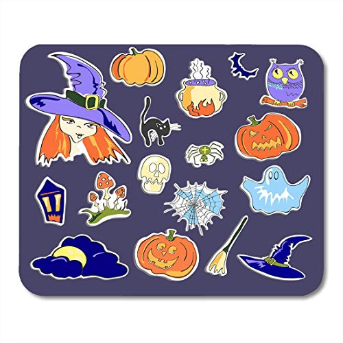 Deglogse Gaming-Mauspad-Matte, Autumn Black Wizard of Halloween on Violet White Abstract Mouse Pad, Desktop Computers mats (Pics 3d Halloween)