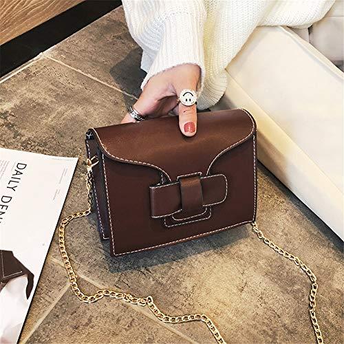 CHAOBAOBAO Damen Messenger Bag Pu Kleine Tasche Vintage Kette Tasche Student Fashion Casual Umhängetasche Einfache Wilde Kleine Quadratische Tasche/Wolle Tasche, Dunkelbraun
