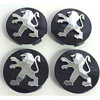 x4 Alta Calidad Peugeot 60 mm aleación Badge cromo negro Logo Emblema Mediados Hub – Tapas