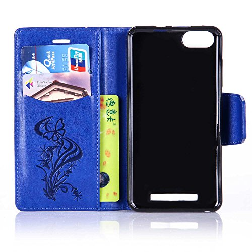 Custodia Wiko Lenny 3, Cover Wiko Lenny 3, Wiko Lenny 3 Custodia Cover, JAWSEU Libro Disegno PU Leather Wallet [Shock-Absorption] Pelle Portafoglio Custodia per Wiko Lenny 3 Cover Goffratura Arts Fior Blu