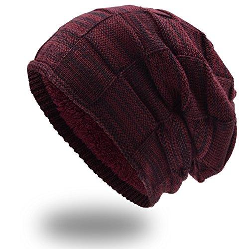 UPhitnis Warme Wintermütze - Long Slouch Beanie Mütze - Strickmütze mit Flecht Muster und sehr weichem Fleecefutter für Herren Damen