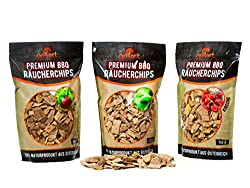 grillart Premium BBQ Räucherchips XL Mix 3er Set für EIN besonderes Raucharoma - sehr rauchaktives Räucherholz/Holzhackschnitzel - Smoker Zubehör - Vorteilspack 3X 750g Beutel