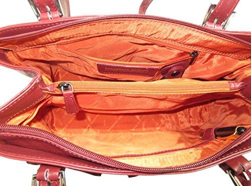 Josybag Ledertasche Oslo 4 Reißverschlussfächer handgefertigt Shopper Bordeaux/ Glattleder