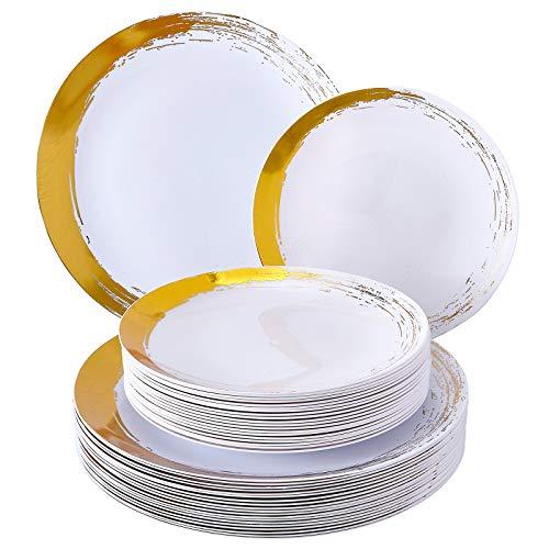 Gebürstetes Einweggeschirr-Set, 20 Essteller, plastik, Gold/Weiß, 20 Servings Gold-serving Set