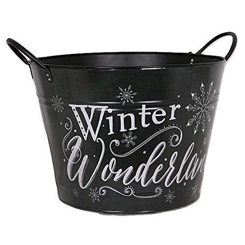 Pflanztopf Winter Wonderland - Tannenbaumfuß Ø 30 cm - Metall schwarz