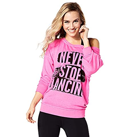 Zumba Fitness Never Stop Dancing Sweat-Shirt Femme, Shocking Pink, FR : XXL (Taille Fabricant : XXL)