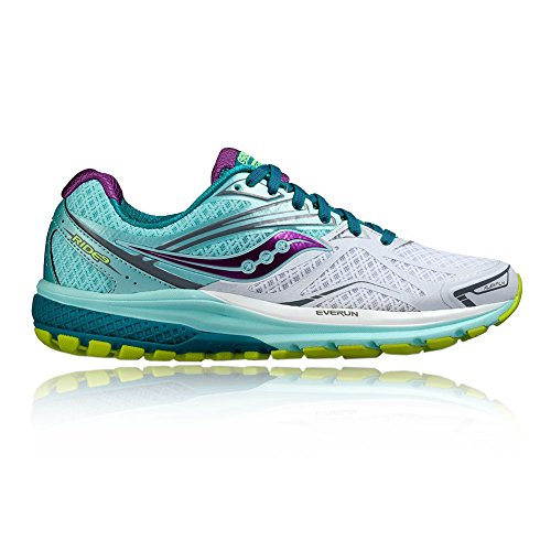 Saucony Ride 9 W, Scarpe da Corsa Donna, White/Teal/Purple, Multicolore (White/teal/purple), 38 EU