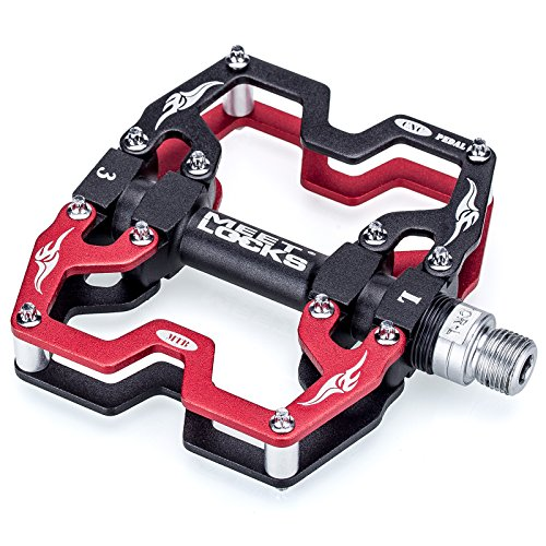 MEETLOCKS Fahrradpedale, Fahrrad Pedalen 9/16 Zoll Achse CNC Aluminiumlegierung Cr-Mo Alu mit Abgedichtete Lager Rutschfest, Rennrad Pedale für MTB BMX Trekkingrad Plattform -