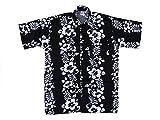 Hawaiihemd Hawai Freizeit Hemd Shirt Viskose schwarz Blumenreihen weiß, Größe:5XL