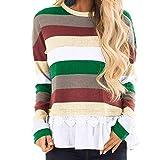 IZHH Damen Plus Size Tops, Langarm gestreiften Oansatz Spitze Patchwork Pullover Thanksgiving Shirt Pullover gestreift Stitching Lace Top(Grün,XX-Large)
