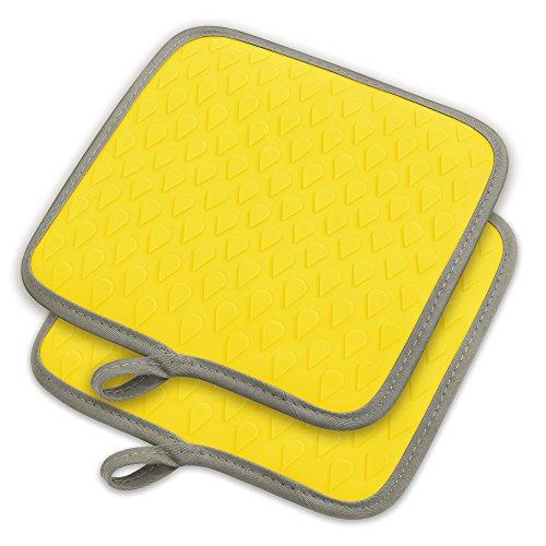 tophome Mehrzweck quadratisch Ofenhandschuhe Grillen Handschuhe Silikon rutschfeste Trocknen, Silikon Küchenhandschuh hitzebeständig Hot Pads insulationwaterproof gelb - Silikon-grillen-handschuhe