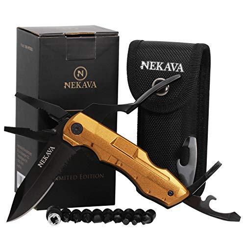 NEKAVA 5-in-1 Multitool | Multifunktionswerkzeug mit Klappmesser in schwarzem Edelstahl und Griff aus Gold. Ideal als Survival Messer für Outdoor, Campen, Haushalt. Inkl. GRATIS Credit Card Tool